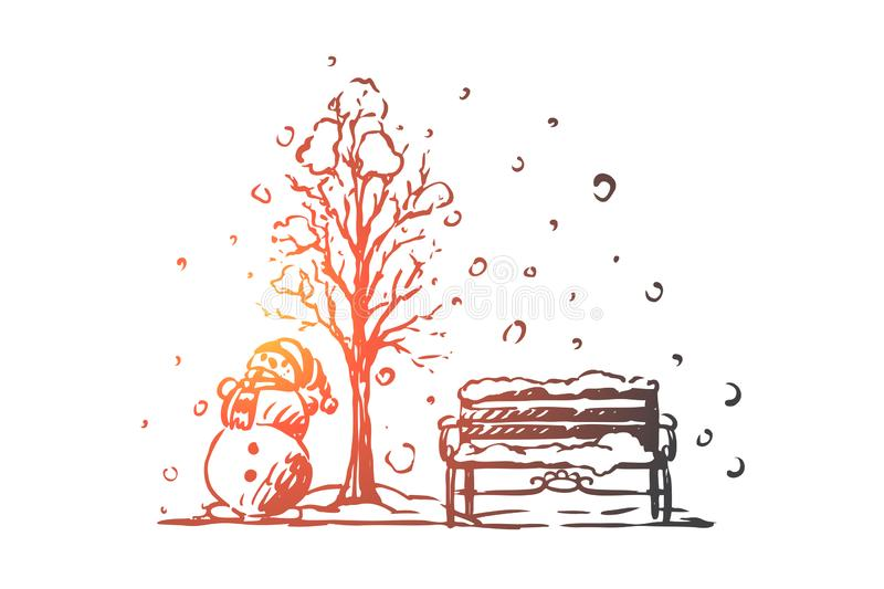 City, winter, snowman, park concept. Hand drawn isolated vector. royalty free illustration