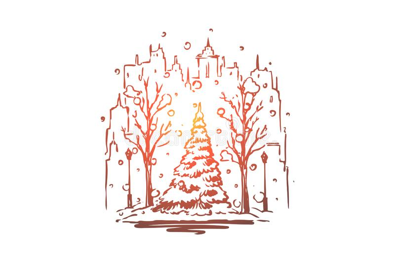 City, winter, street, tree, snow concept. Hand drawn isolated vector. vector illustration