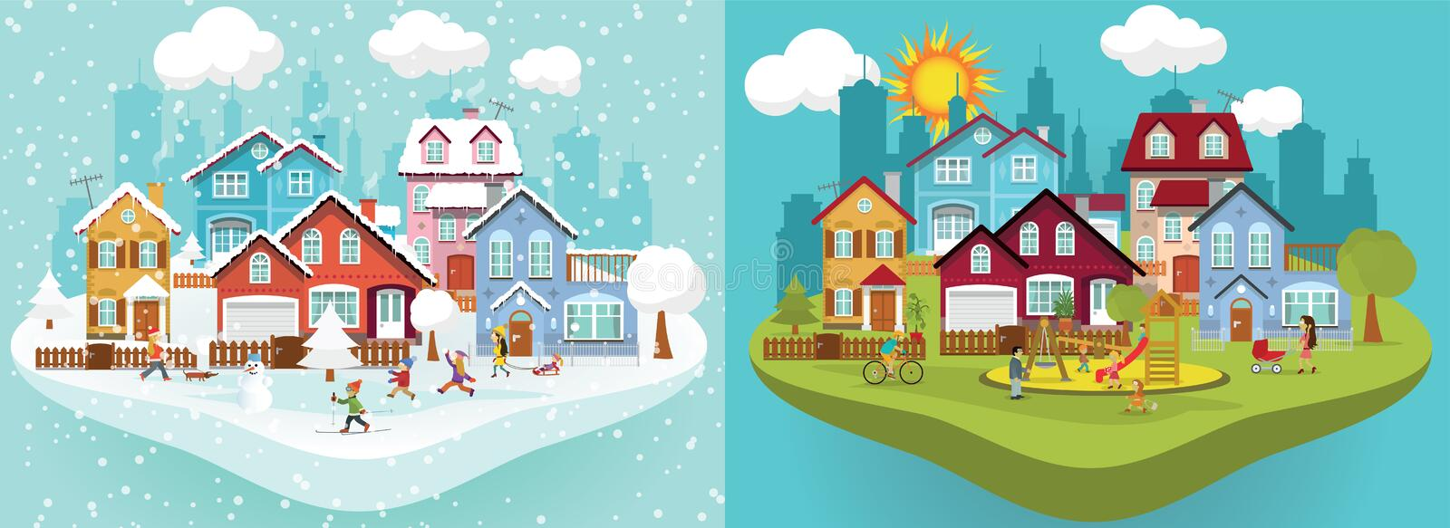 City in Winter and Summer vector illustration
