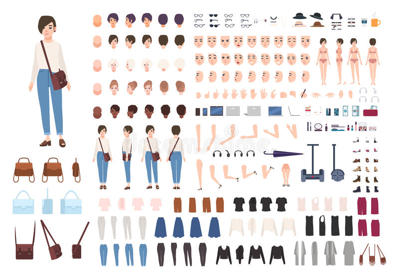 City woman character constructor. Nice girl creation set. Different postures, hairstyle, face, legs, hands, clothes stock illustration