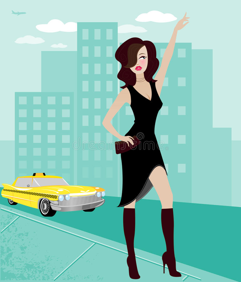 City Woman Hailing a Cab. Chic young woman in the city, hailing a taxi cab vector illustration