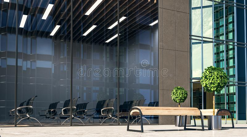 City wooden benches on a street and modern spacious conference room royalty free stock image
