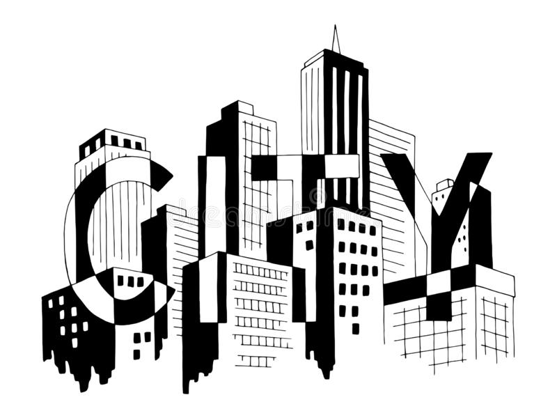 City word graphic black white cityscape skyline sketch illustration vector. City word graphic black white cityscape skyline sketch vector royalty free illustration