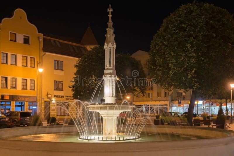 Urban fountain at night. royalty free stock photography