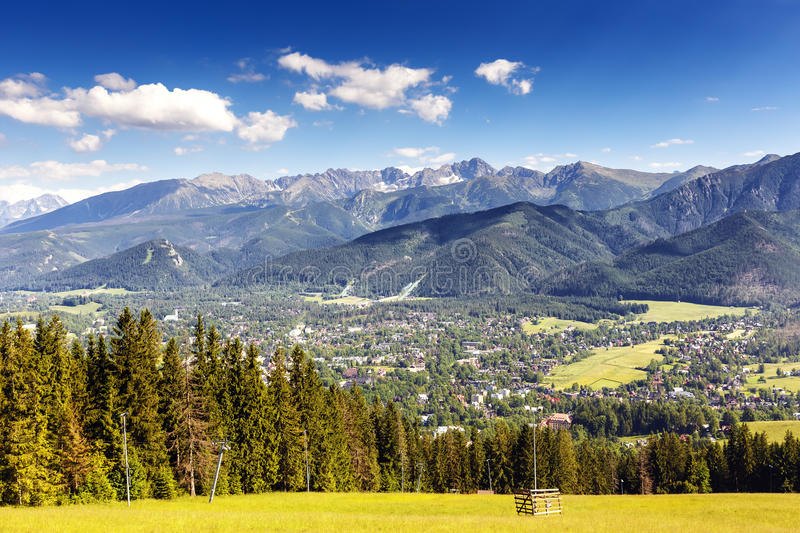 City of Zakopane and Tatras seen from the distance royalty free stock photos