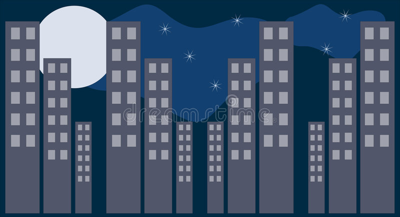 Download City1 stock vector. Image of tall, buildings, moon, windows - 6269996