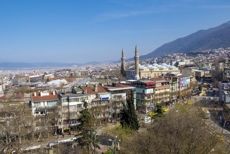 Citya de Brousse et mosquée d'Ulucami photo stock