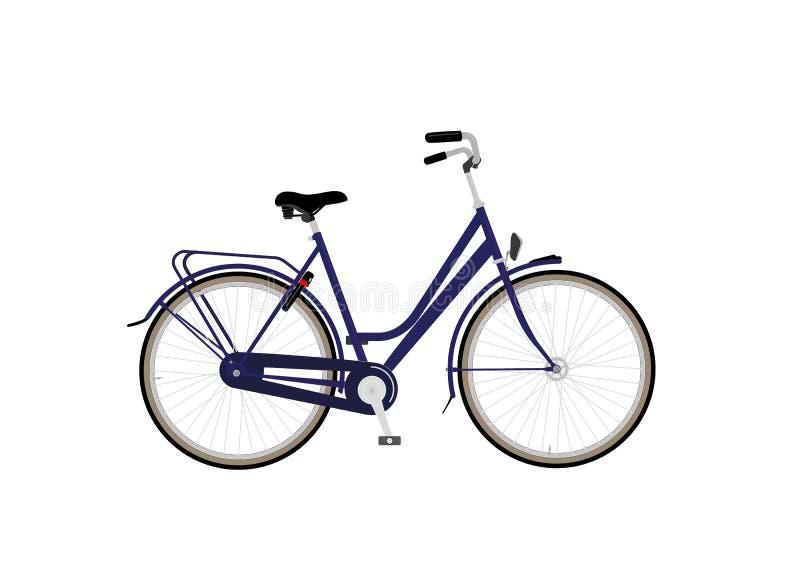 Citybike com o freio azul do quadro e do para trás-pedal foto de stock