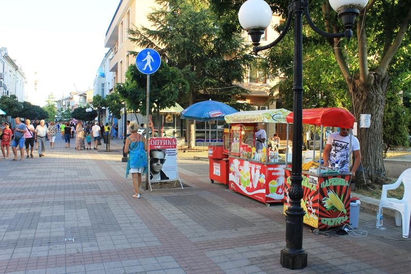 Citycenter of Pomorie, Bulgaria. Pomorie is a town and seaside resort in southeastern Bulgaria, located on a narrow rocky peninsula in Burgas Bay on the southern royalty free stock photography