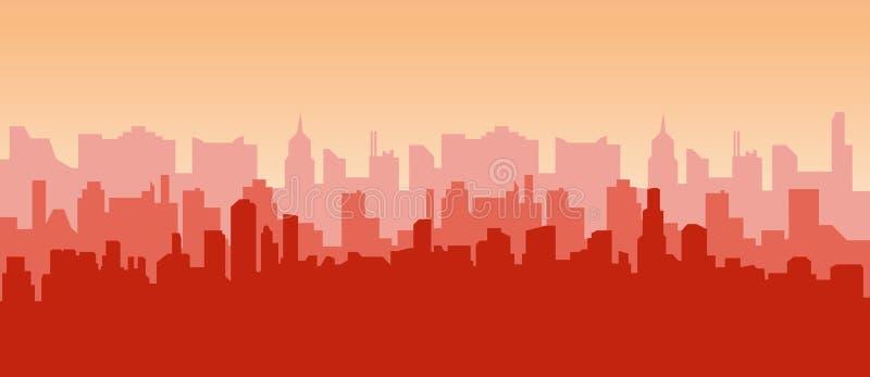 Cityconcept di alba Contorno dei grattacieli, panorama della città Fondo moderno di vettore del paesaggio per web design Orizzont illustrazione di stock
