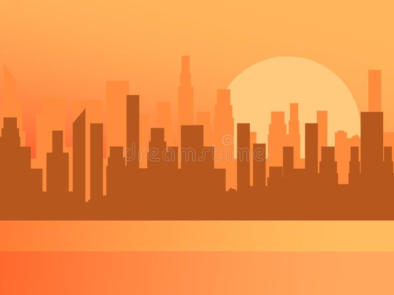 Cityconcept di alba Contorno dei grattacieli, panorama della città Vettore illustrazione di stock