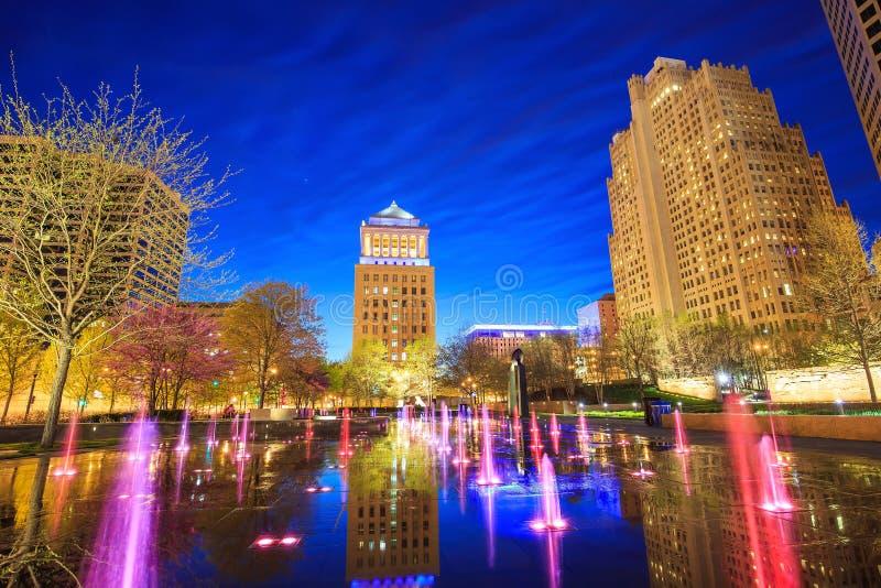 Citygarden público en St. Louis céntrico foto de archivo