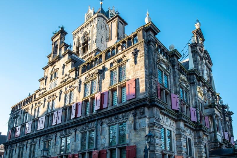 Cityhall dans la ville Delft images stock