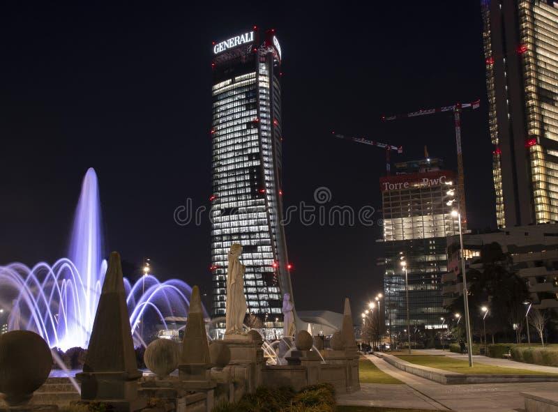 Citylife na noite, Milão imagens de stock royalty free