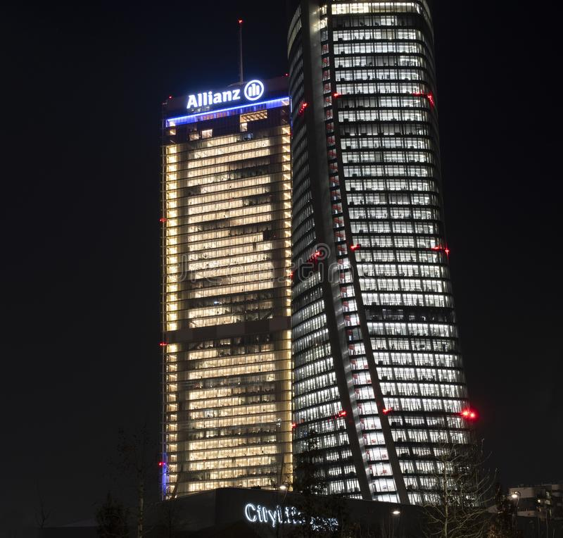Citylife by night Milan: Allianz skyscraper Straight and the Generali Crooked stock photo