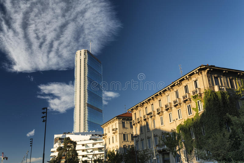 Citylife: old and modern buildings in Milan royalty free stock photos