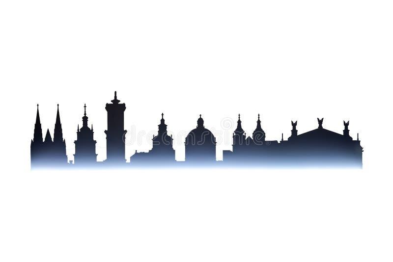 Cityline της παλαιάς πόλης Lviv που απομονώνεται στο λευκό στοκ εικόνα