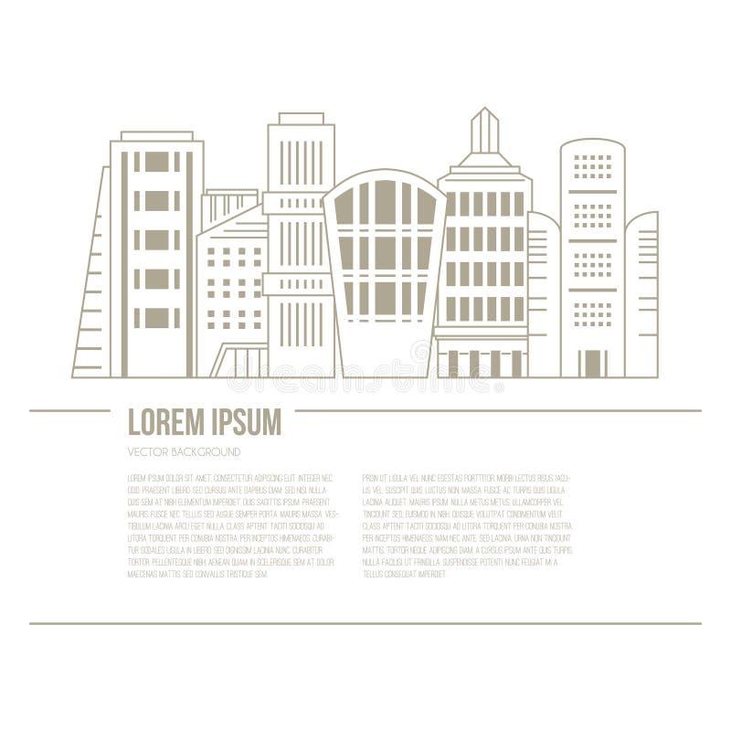 Cityline en Tekst royalty-vrije illustratie