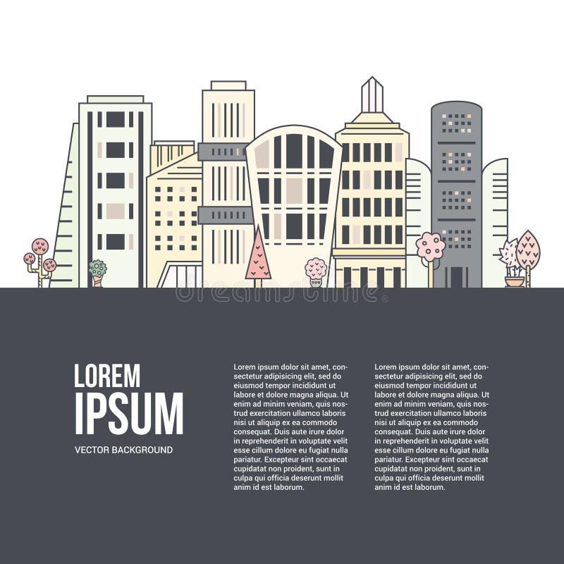 Cityline en Tekst stock illustratie