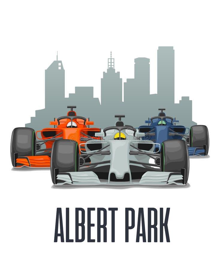Cityline Melbourne and three racing cars on Grand Prix Australia. vector illustration