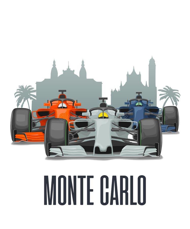 Cityline Monte - carlo och tre tävlings- bilar på granda prixen Monaco vektor illustrationer
