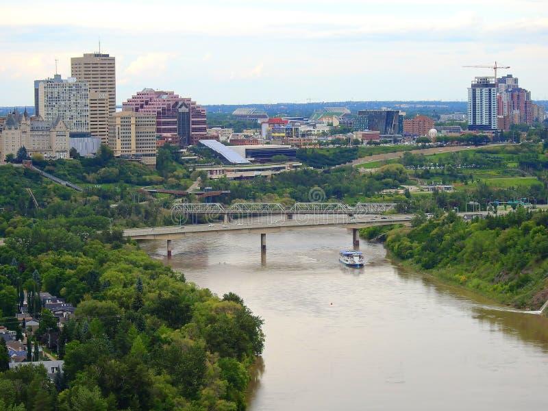 Cityline van Edmonton van de binnenstad, Alberta royalty-vrije stock foto