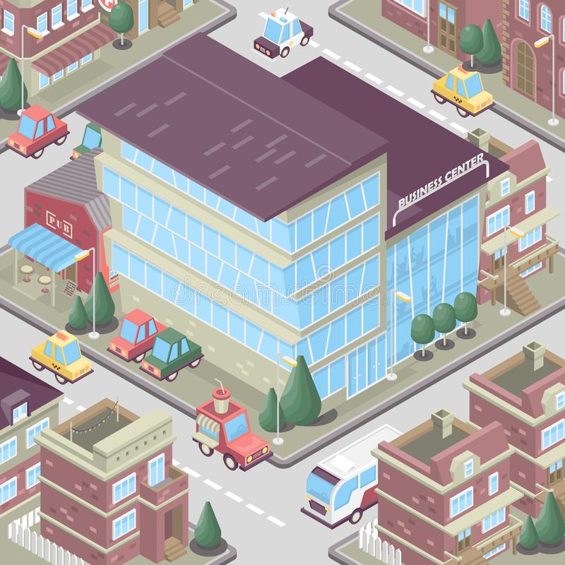 City district in isometric 3d style. Vector town. Set of buildings, houses, townhouses, multi-family homes, shop, bar, school, hos. Pital, car parking.Colorful vector illustration