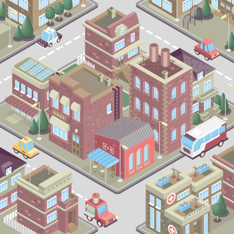 City district in isometric 3d style. Vector town. Set of buildings, houses, townhouses, multi-family homes, shop, bar, school, hos. Pital, car parking. Colorful stock illustration