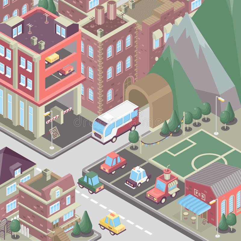City district in isometric 3d style. Modern town. Set of buildings, houses, townhouses, multi-family homes, shop, bar, school, hos. City district in isometric 3d stock illustration