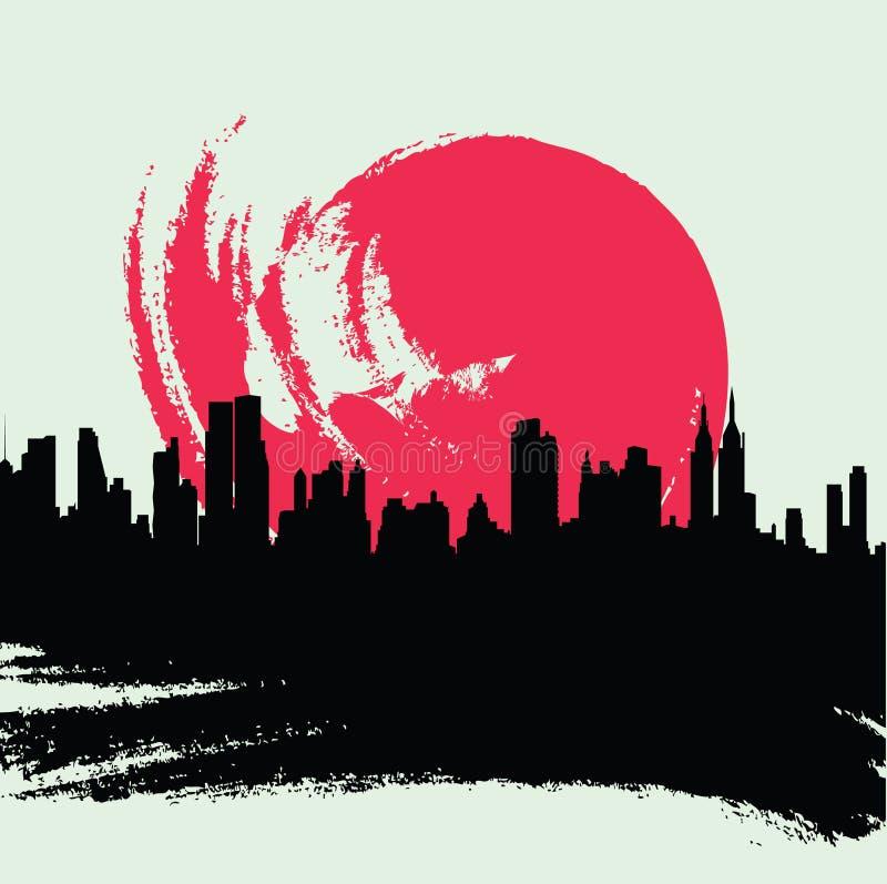 Cityscape. Grunge cityscape of new york stock illustration