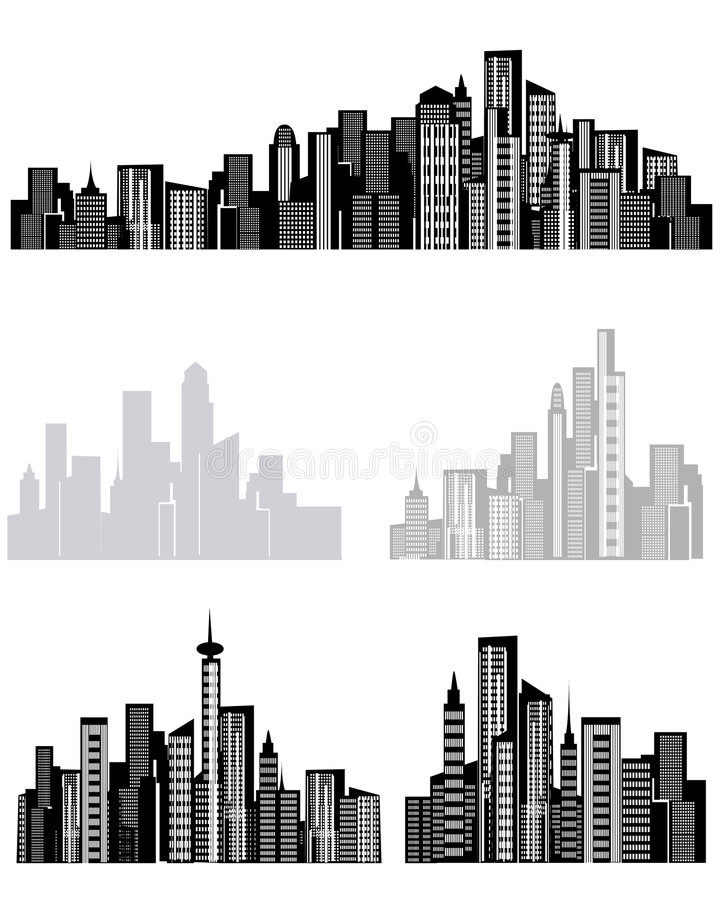 Cityscape. Vector illustration of assorted cityscape structures vector illustration