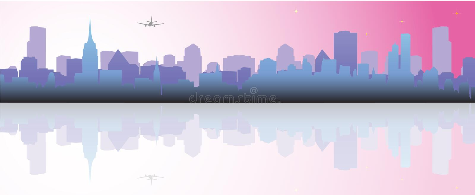 Cityscape. Vector illustration of buildings reflection stock illustration