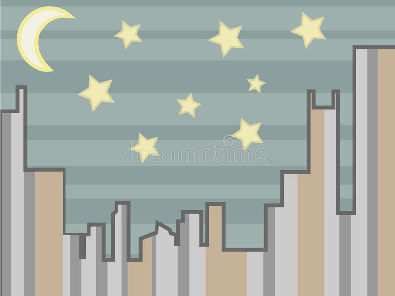 Download Cityscape Abstract At Night With Stars And Moon Stock Vector - Image: 14631163