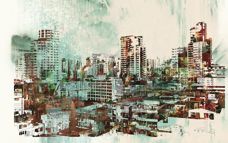 Cityscape with abstract textures. Illustration painting stock illustration