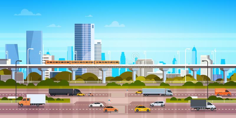 Cityscape Achtergrond Modern Stadspanorama met Wegweg en Metro over Wolkenkrabbers vector illustratie