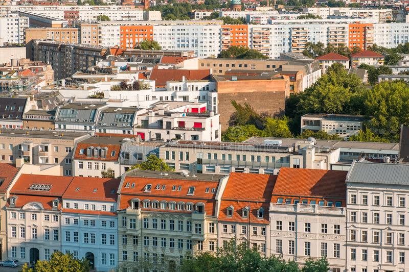 Cityscape aerial - roofs of buildings in Berlin city - royalty free stock photos