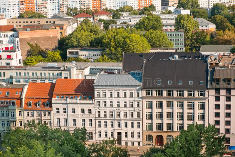 Cityscape aerial - roofs of buildings in Berlin city - royalty free stock photo
