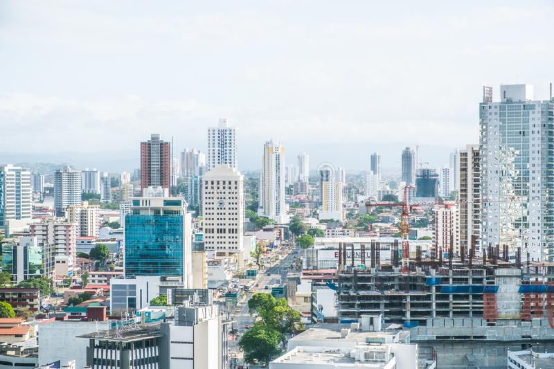 Cityscape aerial, skyline of downtown Panama City royalty free stock images