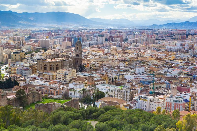 Cityscape aerial view of Malaga, Andalucia, Spain. royalty free stock image