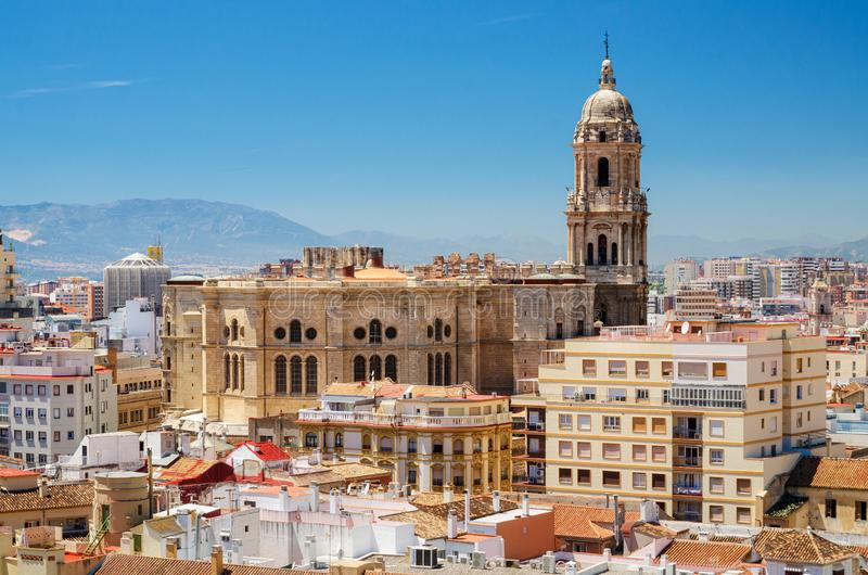 Cityscape aerial view of Malaga, with cathedral and city skyline Spain. Cityscape aerial view of Malaga, with cathedral and city skyline Spain royalty free stock photography