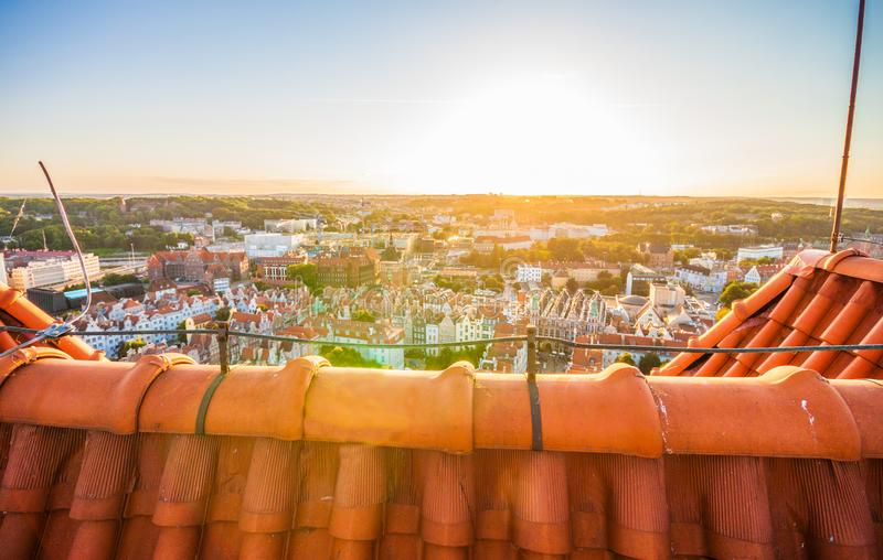 Cityscape aerial view on the old town on the sunset in Gdansk stock photo