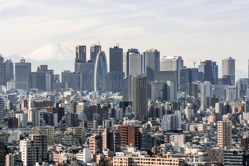 Cityscape aerial view of Shinjuku area with business buildings district and houses, Fuji mountain in background royalty free stock image