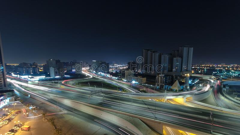 Cityscape of Ajman from rooftop at night timelapse. Ajman is the capital of the emirate of Ajman in the United Arab Emirates. stock photo