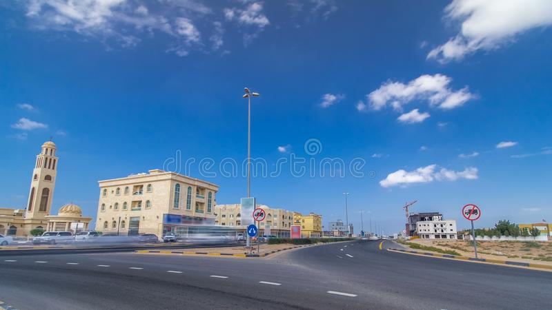 Cityscape of Ajman with villas ready and under constroction timelapse. Ajman is the capital of the emirate of Ajman in the United stock image