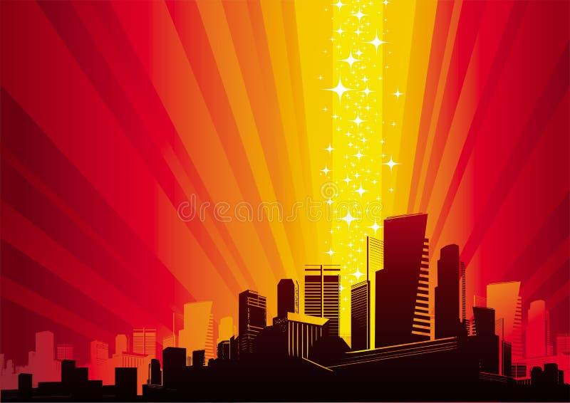 Cityscape & magisch fenomeen vector illustratie