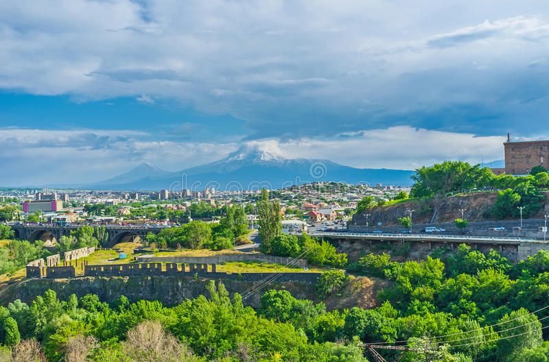 The cityscape with Ararat Mount stock images