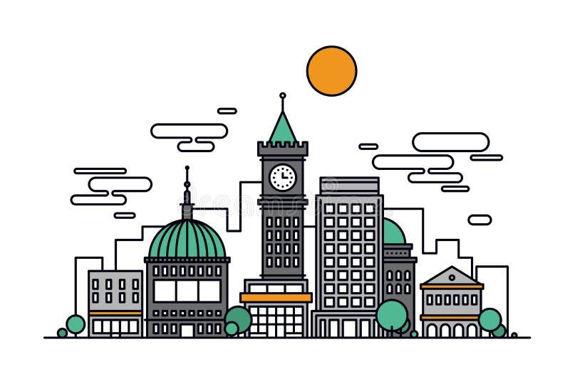 Cityscape architecture line style illustration vector illustration