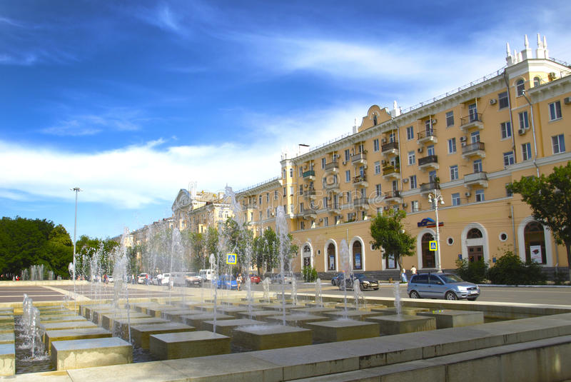 Cityscape. Astrakhan.Russia. The central part of the city of Astrakhan stock photo