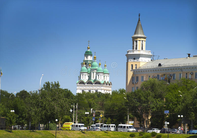 Cityscape. Astrakhan. Russia. View of the domes of the church in the Astrakhan Kremlin stock photography