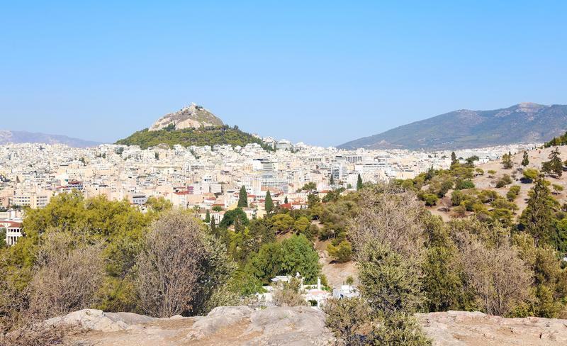 Cityscape of Athens Greece with the Lycabettus mountain view royalty free stock image